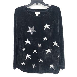 Sequin Silver Star Soft & Cozy Sweater